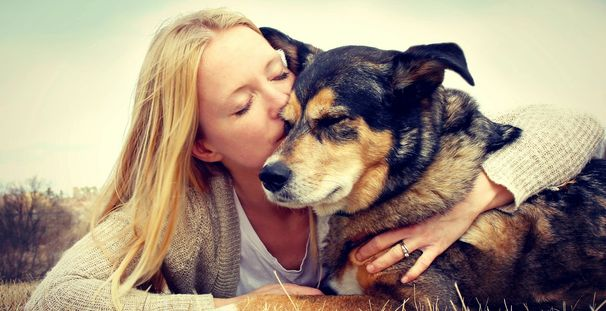 Woman kissing older dog