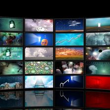 Wall of TV screens representing the many types of broadcasts and streaming done by Banded Moon.