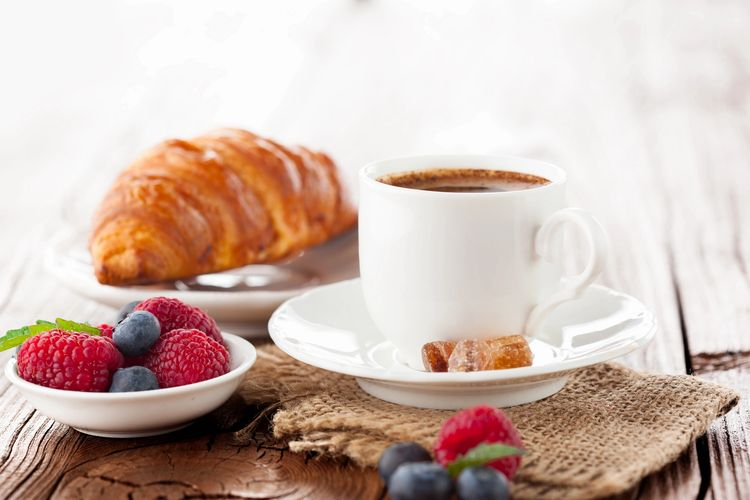 Fresh baked goods, fruits and coffee