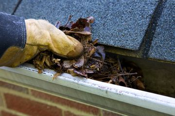 Cleaning leaves and debris out of a gutter.