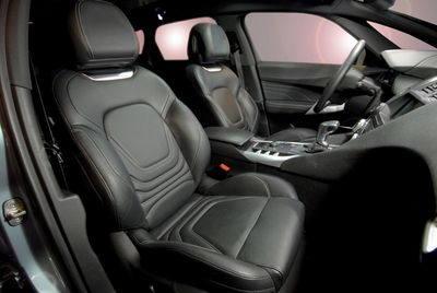 Automobile with black leather seats.