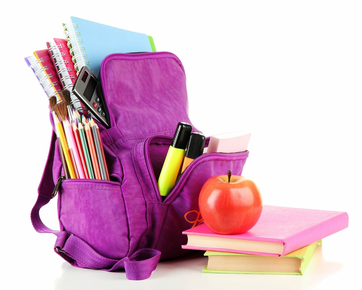A purple backpack with books, pencils, markers and a calculator