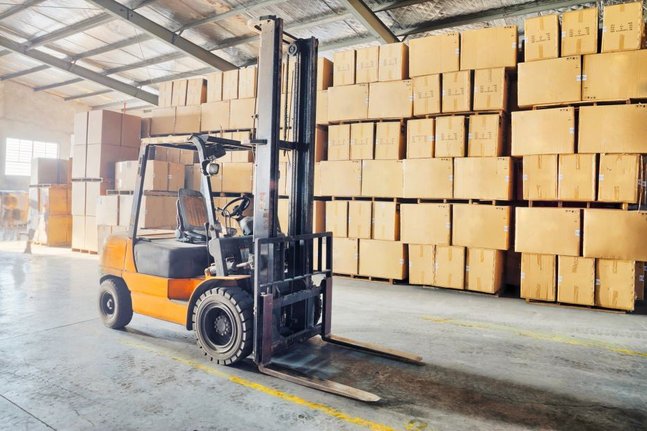 forklift truck or counterbalance parked safely
