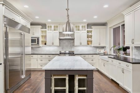 cabinetry cabinets traditional modern kitchen white cabinets different colored island counter crown