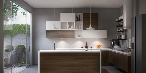 Modern kitchen that features countertop with waterfall side panels in seamless white solid surface