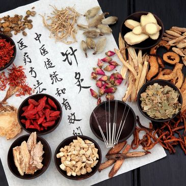 Display of Chinese medicine tools including acupuncture needles and small dishes of Chinese herbs