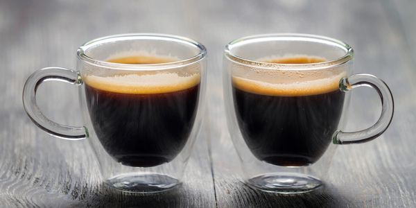 Two espresso coffee shots.
