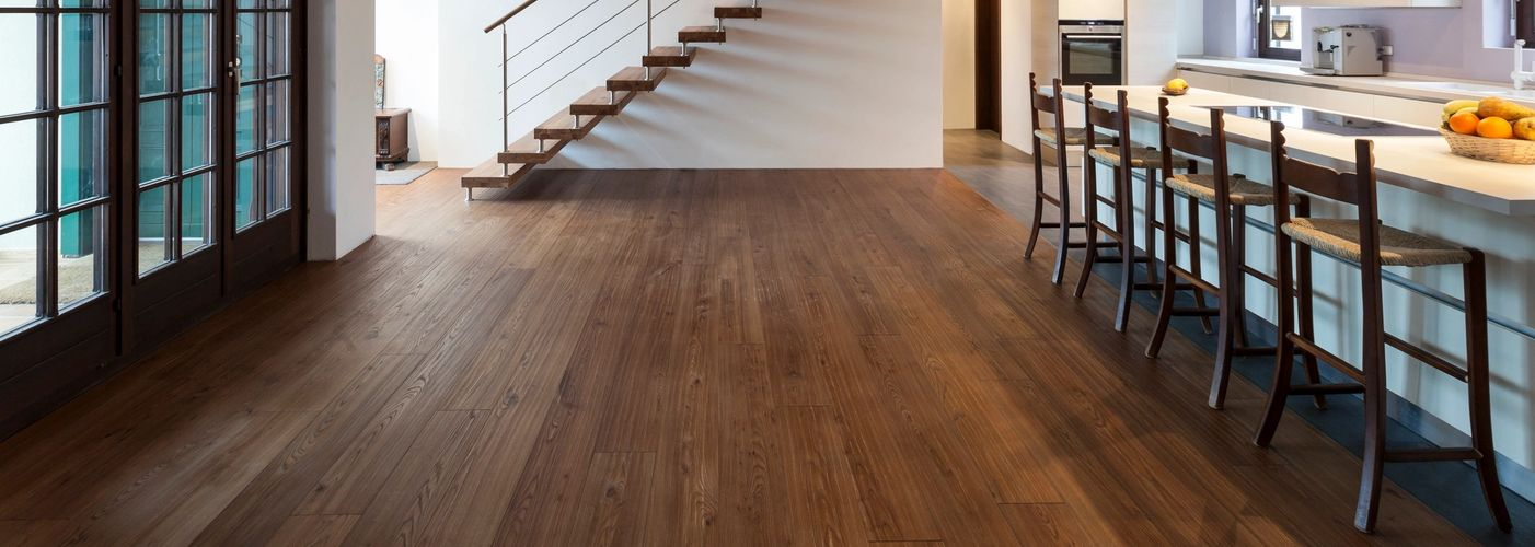 Hand scraped Ash Hardwood Floor. Prefinished Wide Plank Stained and Finished Floors and Stair Treads