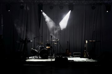 a live Band stage setup, displaying our ability to run live sound engineering.