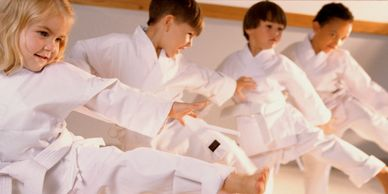 Children practicing karate.