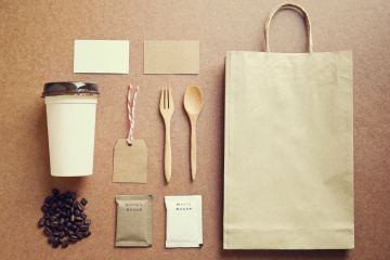 Branding - brown paper bag, spoon, fork, coffee cup