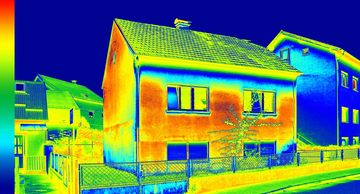 Thermal image of energy efficient home with uPVC double glazing