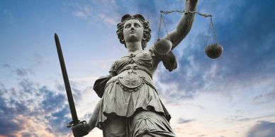Lady Justice. Criminal Defense Law.