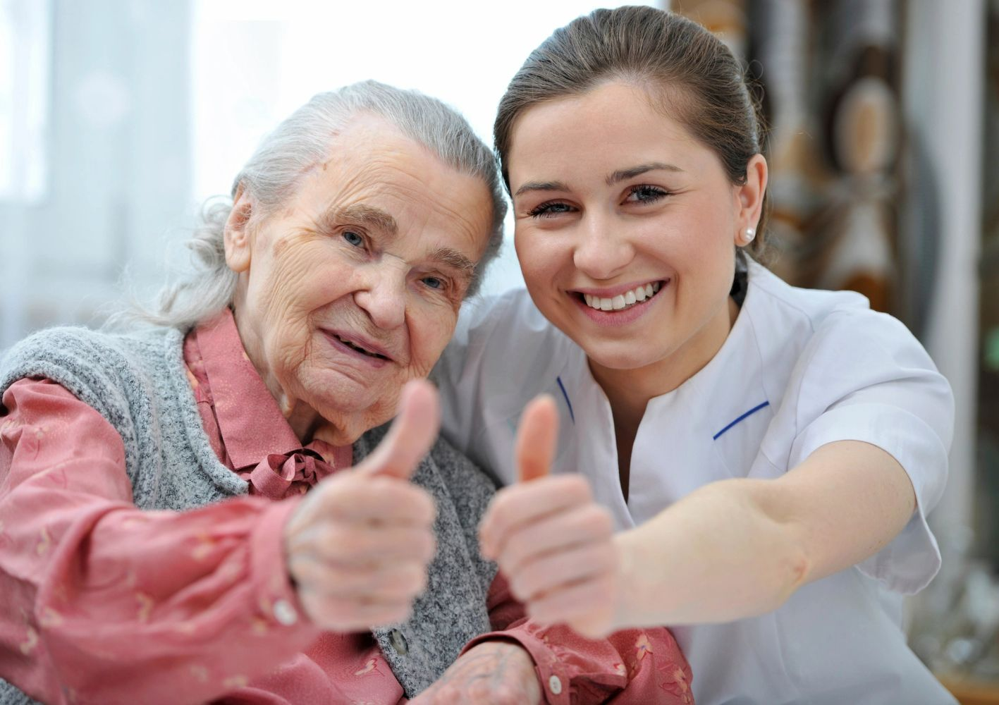 grandma's thumbs up on fortress living care home