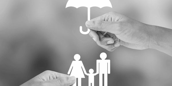 Symbols for umbrella insurance policy for a home.