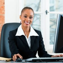 Business women using Customer Management System