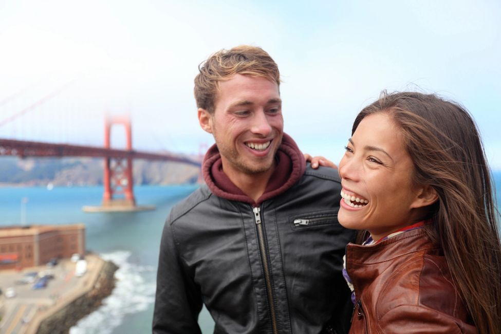 A guy and girl with golden gate bridge looking where to buy CBD in San Francisco, CA