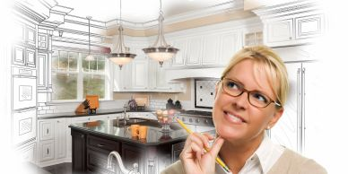 Blonde haired female wearing glasses envisioning an updated kitchen. Kitchen sketch in background.