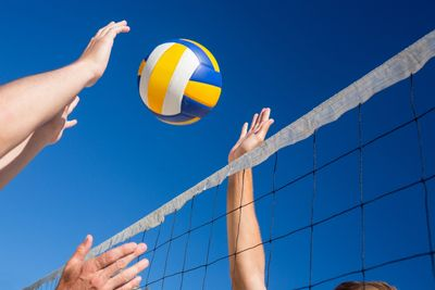 volleyball net hitting ball