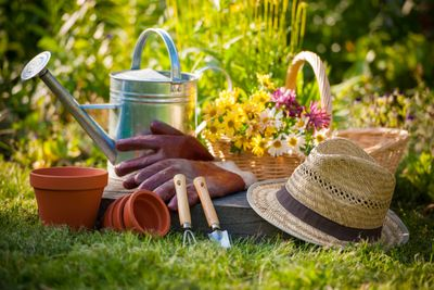 Still-life image of watering can, straw hat, basket of flowers, gardening gloves and tools.