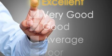 Satisfaction Excellence Above average Rating Customer Survey