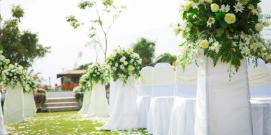 Sunny outdoor wedding isle.