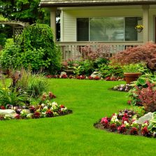 Blooming flowerbeds and manicured lawn.
