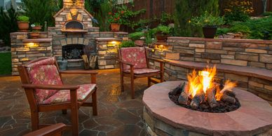 outdoor fireplaces in Edmond, Fire pits in Edmond, patio ideas in Edmond, patios in Oklahoma city