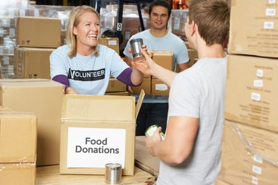 Picture of volunteers collecting food donations