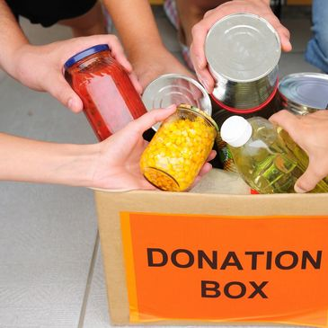 A donation box full of healthy food