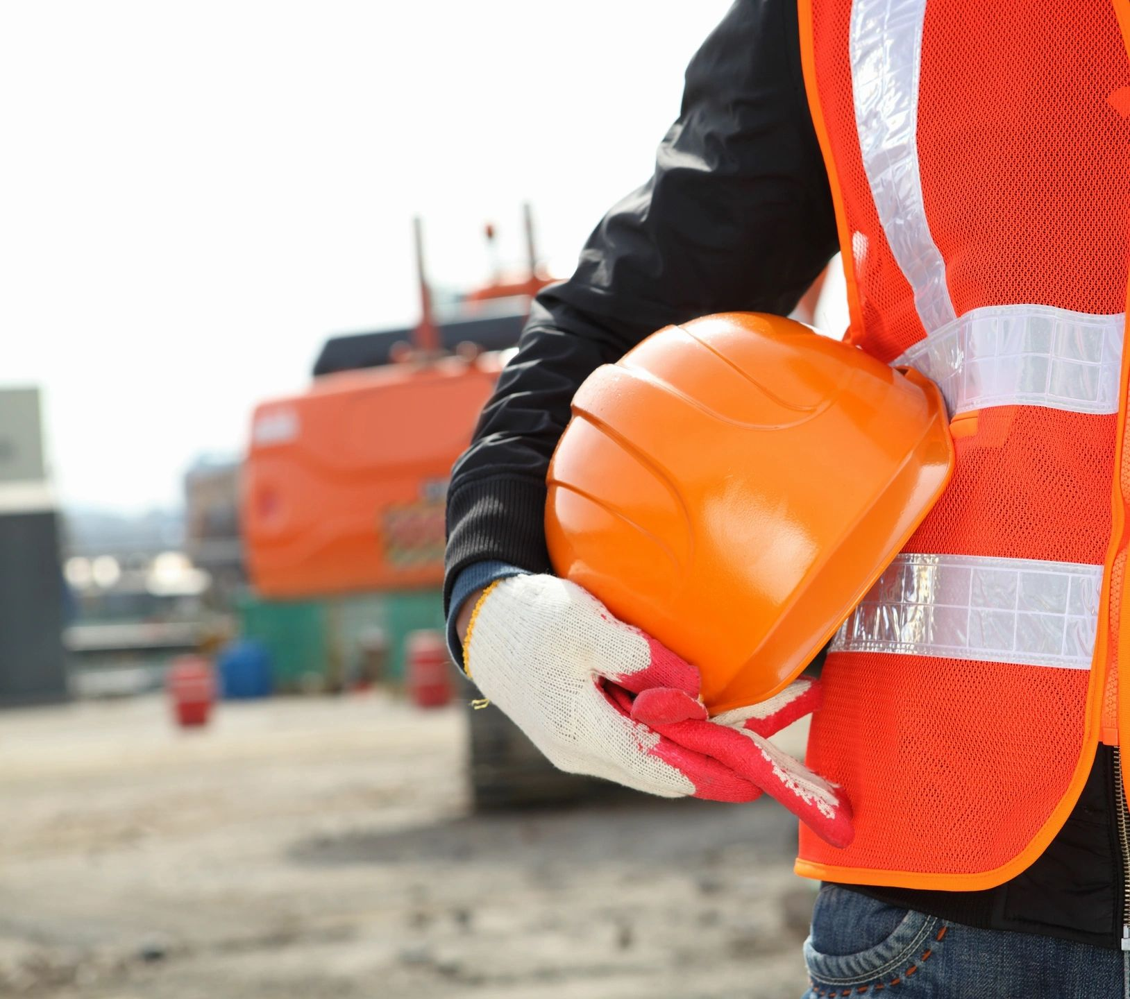 Wearing Personal protection equipment on building site