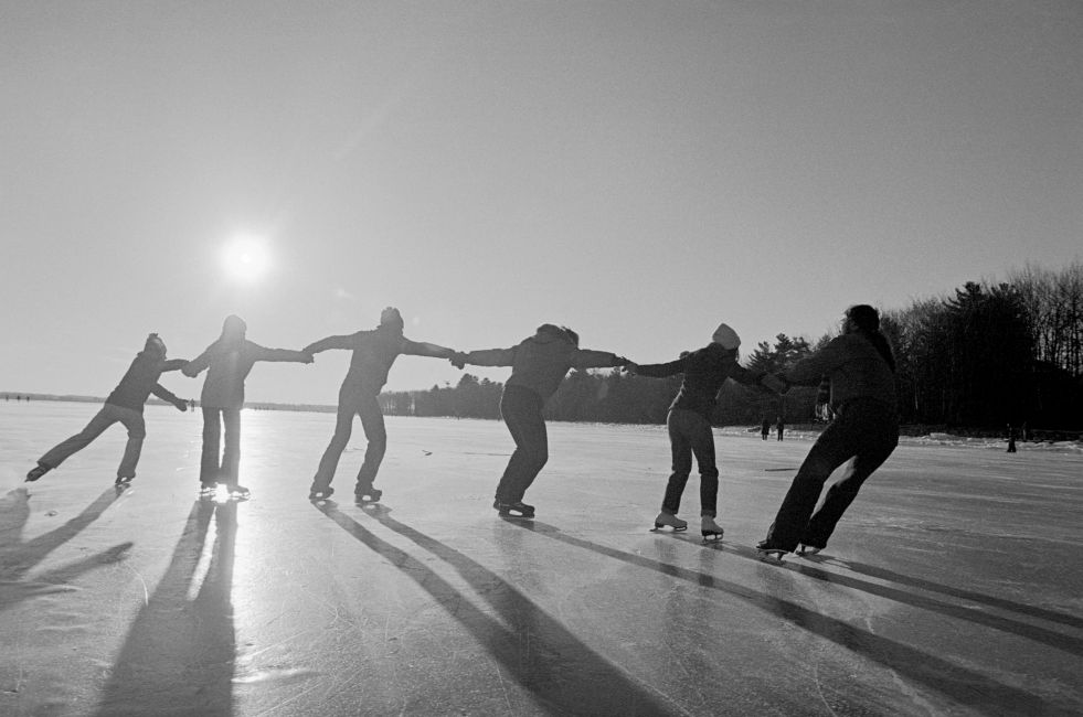 Skaters at an ice rink