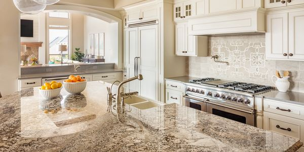 Granite Countertop with Quartz Perimeter