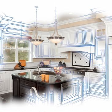 A sketch of kitchen after remodeling in Skippack, PA