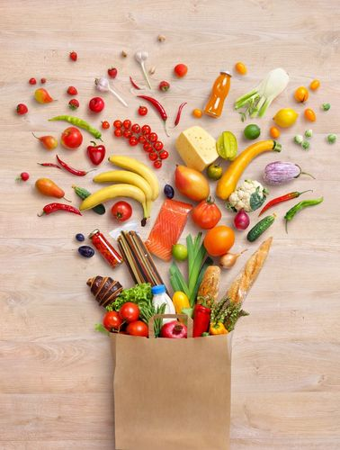 healthy food fruit vegetable grocery bag