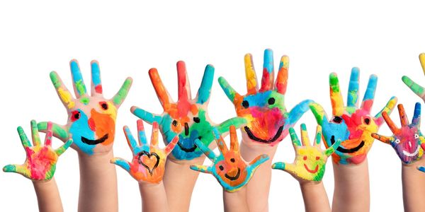colorful children's hands with happy faces