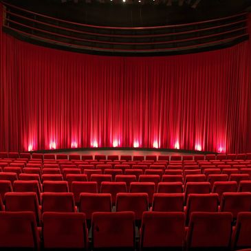 Red curtain and seating in Theatre