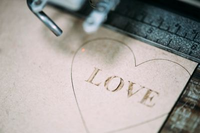 engraved love heart