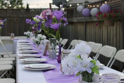 Backyard outdoor dinner table setting