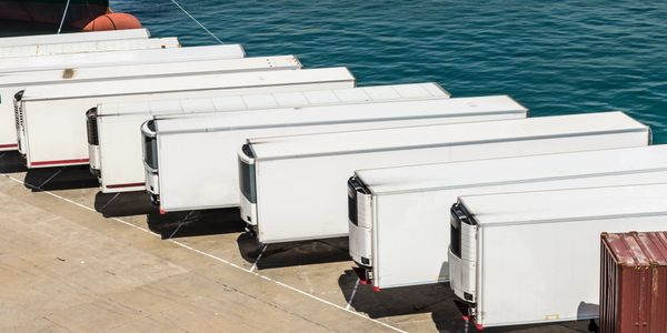 Refrigirated trailers parked