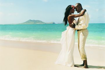 wedding couple on remote island