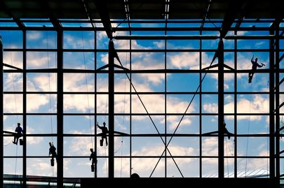 Our team of commercial window cleaners on a project