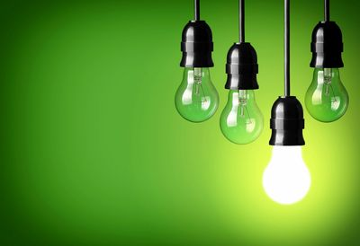 One light bulb, lighted on a green background, Psychology tests light the way to career interests