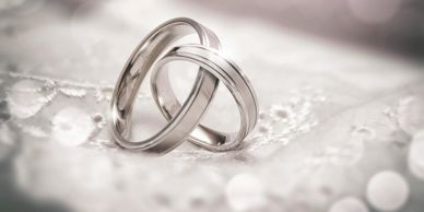 Wedding rings intertwined