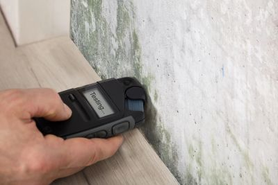Testing the moisture content in a wall during a home inspection.