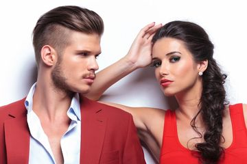 Male haircut model and female hair model
