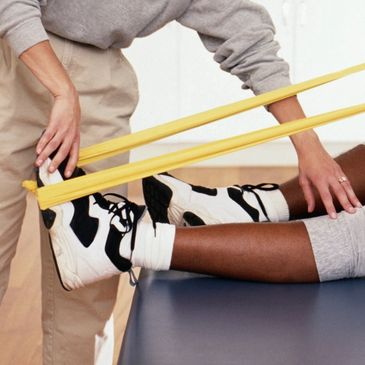 Rehabilitation exercise image for the ankle with theraband