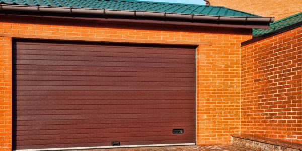 Roll up steel garage door.