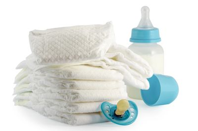 diapers, pacifier and baby bottle