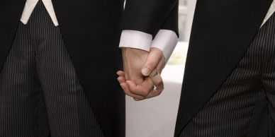 groom and groom holding hands